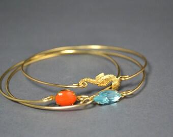 Golden Seahorse bangle bracelet set