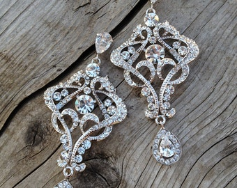 Royal wedding chandelier bridal earrings