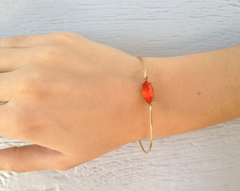 Single stone  Sunny Orange vintage glass  gold modern  bangle