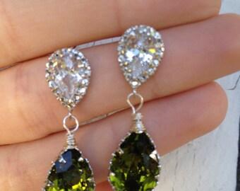 Olive drops swarovski crystal sterling silver stud earrings