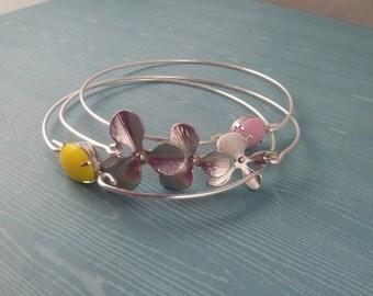 Silver Orchid bangle bracelet set of three