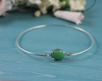 Green apple glass silver Bangle bracelet