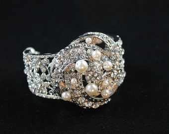 Darling Art-Deco style Swarovski Crystal and Pearl Bridal cuff bracelet