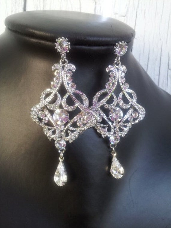 Bridal Earrings - Crystal Earrings, Wedding Earrings, Chandelier Earrings, Swarovski , Rhinestones, ,posts, Vintage Style Jewelry,(Katia)