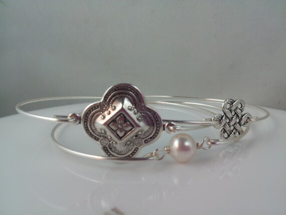 Exotic Clover silver bangle set of three