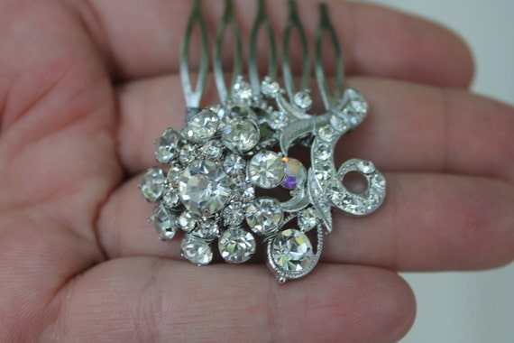 Small crystal flower hair comb