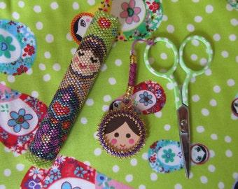 Beaded Needle case & Scissor Charm Pattern (Matryoshka Russian Doll) PDF