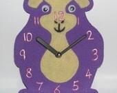 Wall Clock, Guinea Pig, Purple, Cream, Felt and Foam, Child's Room, Nursery