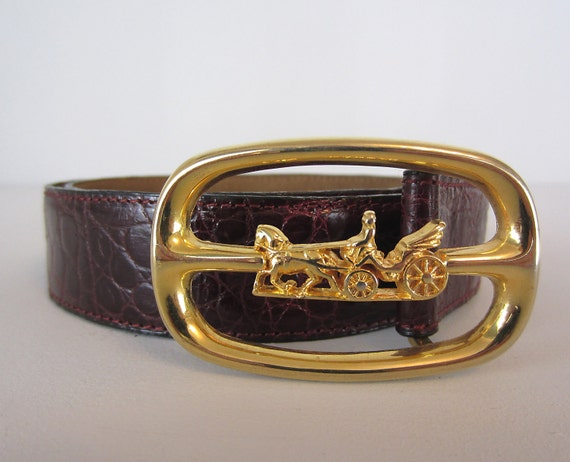 Vintage Belt. Crocodile Leather. Brass tone buckle. Horse and Carriage. French.