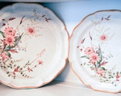 "Vintage 1980s Mikasa Field and Bouquet Serving Platters 11"" and 12 1/2"" Round"