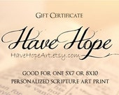 For RW Set of Three Gift Certificates: Personalized Scripture Art , Gift Cards for 5x7 or 8x10 Print