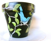 Planter pot - birds - black blue green - tree branches - leaves - garden decor - housewarming gift