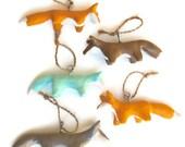 Fox Christmas ornaments - set of 5 - woodland rustic - autumn colors - orange brown blue - handmade - Christmas or wedding decor