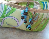 Blue and Bronze Bead and Chain Dangle Earrings
