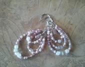 Lavender Beaded Hoop Earrings