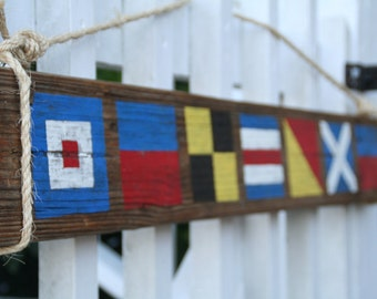 custom nautical flag sign reclaimed wood sign name with 4 letters nautical wall decor