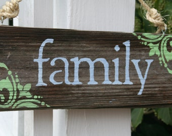 Family sign made from reclaimed dock wood
