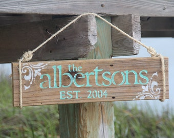 Reclaimed Wood Custom Family Last Name Sign with Date of Establishment