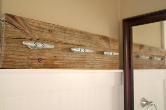 Custom Reclaimed Wood Coat Rack/ Towel Rack with Boat Cleats
