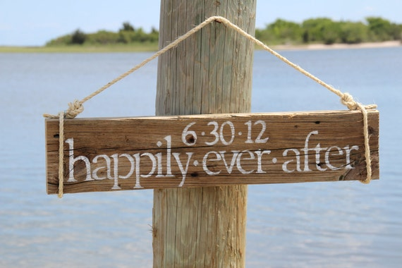 "Custom wedding sign- ""Happily Ever After"" with wedding date...Bridal shower gift, engagement gift, or wedding gift"
