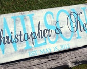 Personalized Family name sign, shabby chic handpainted wood wedding established sign. Family Established sign