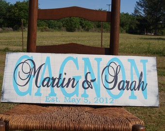 Personalized Family Name Sign. Wedding Est. Sign