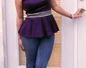 Purple and Grey Tailored Peplum Top