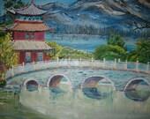Chinese Temple Bridge, Original Oil Painting, Asian Art, Blue Bridge, Zen Art, Dan Leasure Oil, 36 x 25 in. Framed