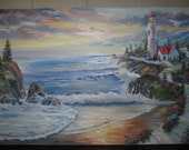 "Lighthouse Dream, Dan Leasure Original Oil, 35"" w x 25"" h, unframed"