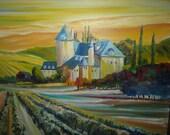 Sunrise Vineyards, Castle Home, Lorane Oregon Vineyard Castle House, Dan Leasure Original Oil