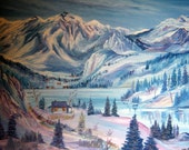 Nestled In At Winter, Wilderness Oil, Alaskan Wilderness Oil, 36x25 Framed,  Cabin in Winter, Snow,  Dan Leasure Oil