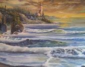 Lighthouse Sunset, Oregon Art,  Dan Leasure Oils, Pacific Northwest Artist, Pacific Ocean Evergreens, 39,27