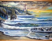 RESERVED for M, Lighthouse at Sunset, Oregon Art,  Dan Leasure Oils, Pacific Northwest Artist, Pacific Ocean Evergreens, 39,27