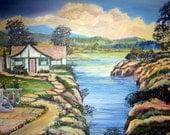 Mystical Lakeside House, Home Portrait, Riverside Home, Memories of Anne, 36 w x 25 h, Dan Leasure Oil