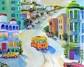San Francisco Living, Victorian Home Art, Streetcar, San Francisco Art, Coit Tower, Dan Leasure Fine Art Print and Cards