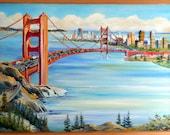 Golden Gate Way, San Francisco Bay Oil, Framed 36 x 24 in., Original Dan Leasure Oil, Framed 36 x 24 in