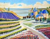 Lavender Vineyard Estate, Provence Landscape Oil, Vineyard Landscape Oil, Orchard Vineyard Oil, Tuscany Landscape, Dan Leasure Oils