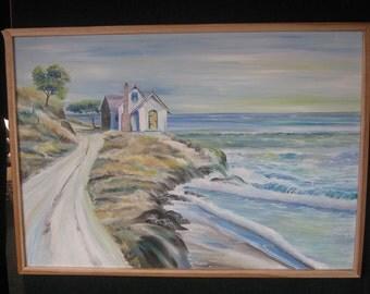 """Whispers of Pamela Oil, House on the Hill, Oceanside House, Healing Art, Framed 37 x 26"""", Dan Leasure Oils"""
