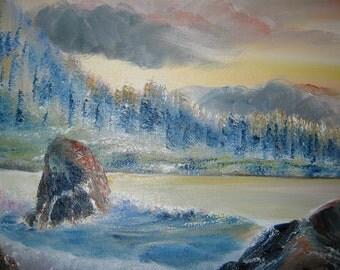 Time Stands Still With You, Oceanscape Oil, Oregon Coast Evergreens Beach Tides Original Oil, 35x25, Dan Leasure