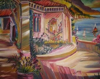 Courtyard of The Carpenter, Mediterranean Home, Seaside Villa, Original Oil, Mediterranean Art, Dan Leasure Oil