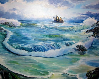 Ahab Sails The Seven Seas, Ocean Art, Captain Ahab, Dan Leasure Oil, 36 x 24 in. Framed
