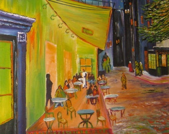 Van Gogh Night Cafe, Paris Oil, Van Gogh Reproduction Starry Night, Paris at Night, Outdoor Cafe,  Dan Leasure Oil Framed