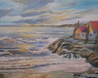Dans Oceanside House, Home Portrait Oil, Oceanside Home, Original Oil Painting, Home by The Sea, Dan Leasure Art