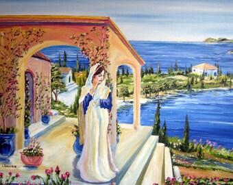 Greek Goddess Oil Painting, Mediterranean Art Oil, Greece Rome Woman WhiteRobe, Paradise, Dan Leasure Oil, 36 x 25in, Original Oil Painting