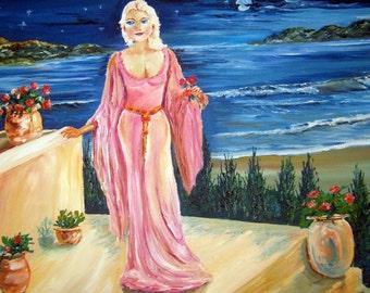 Rose Goddess of Twilight, Ocean Lady, Blonde Rose Gown Courtyard Steps Cobalt Sea, Romance Book Art, 27,21 Dan Leasure Oil