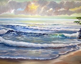 Monterey Cypress, Ocean Oil,  41 long x 24 1/4 tall, Original Oil, Ocean Dawn, Sunrise Pacific Ocean, Original Oil, Dan Leasure Oil