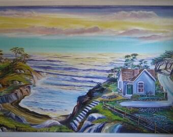 School Teacher's House by The Ocean, Home Portrait, Lavender Blue House by Ocean, Dan Leasure Oil