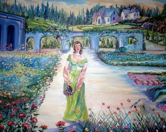 Sweet Melissa Oil, Romance Art Painting, Classsical Lady in Green Dress, Mansion Lady, Dan Leasure Oil, 32x27in
