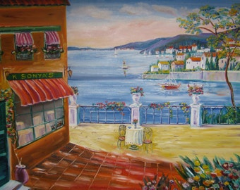French Riviera Cafe, Home Decor Art, French Cafe Art, Cafe Painting, Oil Painting, Dan Leasure, 30x24 painting