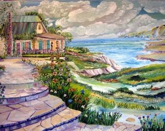 Home By The Sea, Ocean Home Oil, Romantic Home By The Sea, Home Portrait, Original Oil, Seaside Home, Framed 36 x 25 in, Dan Leasure Oil